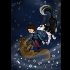 Doggies^^ #snow #dog #alaskanmalamute  #girl  #night #wind #digitalart #illustration
