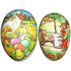 Two Vintage Paper Mache Easter Egg Candy Containers from vintagevault on Ruby Lane