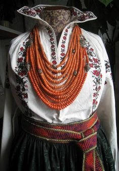 Traditional coral beads from Ukraine.