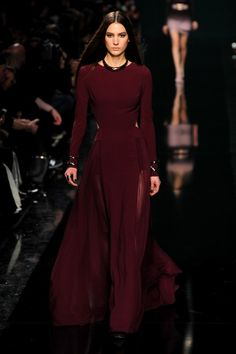 Perfect wine color. Elie Saab dress f14/w15