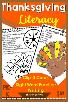 Prek, Kindergarten, and First Grade students all enjoy these Thanksgiving literacy activities. There are centers and worksheets designed for Kindergarten and 1st grade beginning readers. Initial and final sounds. For kids who love to manipulate letters for word work! Check it out at The Fun Factory on Teachers Pay Teachers! Thanksgiving Activities For Kindergarten, Holiday Activities, Reading Activities, Literacy Activities, Teaching Resources, Teaching Ideas, Preschool, Literacy Stations, Literacy Centers