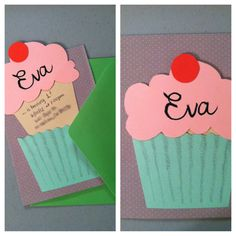 Cupcake Einladung … – Invitation Ideas for 2020 Invitation Fete, Cupcake Invitations, Birthday Invitations, Cute Cards, Diy Cards, Diy Birthday, Birthday Cards, Diy For Kids, Crafts For Kids