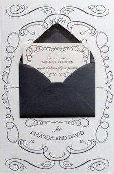 whimsical calligraphy invitation black and white from la vision de cris