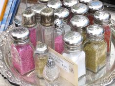 A sparkly sweet idea…store craft glitter in salt and pepper containers and place them on a silver tray!