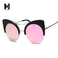 New Fahion Cat Eye Sunglasses High Quality Oversized Shades Women Brand Designer Cateye Sun Glasses UV400
