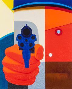 "Nicole Eisenman, ""Shooter 2"" (2016), oil on canvas, 82 x 65 inches (courtesy the artist and Anton Kern Gallery, New York; © Nicole Eisenman)"