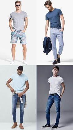Men's Warm Weather Fabrics: Neutral Cotton T-Shirts Outfit Inspiration Lookbook