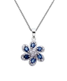Look at this Sapphire & Cubic Zirconia Flower Pendant Necklace on #zulily today!