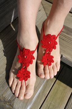 Crochet barefoot sandals from Rukodelnitsa's Etsy