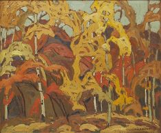 A.J. Casson - October Near Credit Forks 9.25 x 11.25 Oil on board (1926) Forks, October, Painting, Oil, Board, Bobby Pins, Painting Art, Paintings, Painted Canvas