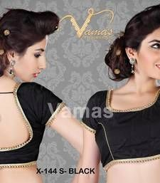 Buy Silk Matka-neck readymade Saree Blouse. X144s Black. readymade-blouse online