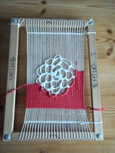 Puff paint on warp~~Making geology, and better weaving | Cowcumbers Studio: Shannon Donovan