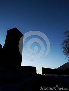 Silhouette Of The Black Tower Of Castelgrande, Bellinzona. Switzerland Stock Image - Image of black, canton: 107590935