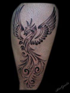 Phoenix black grey leg - Tattoo By Nina Gaudin of 12th Avenue Tattoo in Nampa, ID
