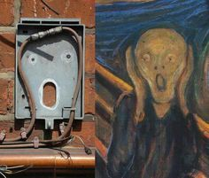 Edvard Munch :) Foto by Cultura Inquieta Le Cri Edvard Munch, Hidden Pictures, Cool Pictures, Hidden Images, Things With Faces, Mr Brainwash, Wtf Face, Weird Face, Strange Places