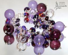 """браслет """"Лаввандовая фея"""", стекло ручной работы от Веры Викторовой, стерлинговое серебро. bracelet """"Lavender fairy """", handmade glass from Vera Viktorova, sterling silver."""