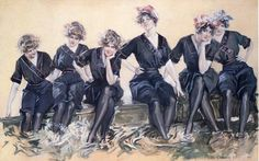 """Howard Chandler Christy: The Six Darlings on the Float, 1914. Source: The Athenaeum (see """"image archives"""" below)"""