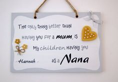 Personalised Mother's Day Gift for Granny. Unique Thoughtful Present.Hand-painted Plaque with Names. Personalized Mother's Day Gifts, Handmade Gifts, Nana Grandma, School Signs, Chalkboard Signs, Gifts For Mum, Christmas Signs, Daughter Love, First Day Of School