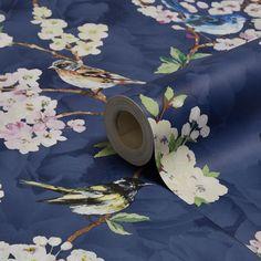 Maylea Navy Floral Wallpaper   Departments   DIY at B&Q