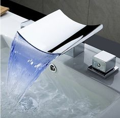 Farbwechsel LED Wasserfall verbreitet Waschbecken Wasserhahn (verchromt):Amazon.de:Baumarkt