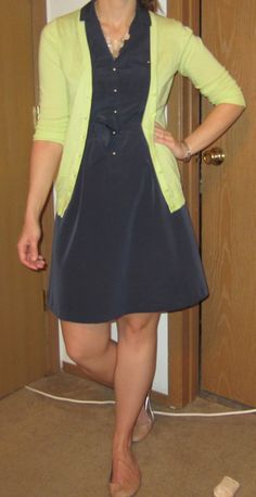 navy dress, lime cardigan