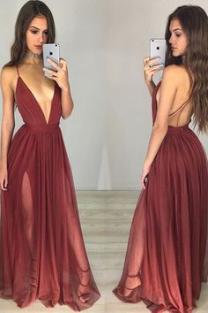 Backless prom dress, burgundy prom dress, sexy c-neck chiffon prom dress with straps