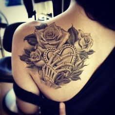 Skull hand heart Rose tattoo