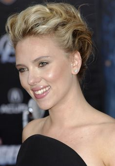 Scarlett Johanssons glamorous updo, I like how it's pulled back, but add some Sort of curls in the back