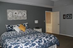 My own master bedroom!  :-) Sherwin Williams City Scape on the darker accent wall and Argos on the other walls & tray ceiling.