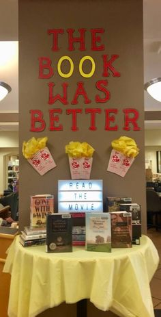 """""""The Book was Better"""" display compares the book to the movie of many great titles.You can find Book displays and more on. School Library Decor, School Library Displays, Middle School Libraries, Library Work, Elementary School Library, Teen Library, Class Library, Library Lessons, Library Ideas"""