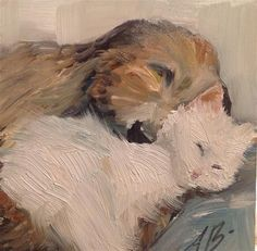 """Daily Paintworks - """"Cat Nap With Dog"""" by Annette Balesteri"""