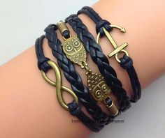 owl bracelet anchor bracelet infinity by Individualitypresent, $5.99