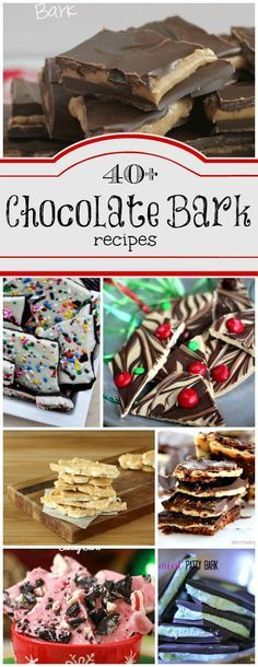 Chocolate Bark is the easiest candy you can make. Here are 40+ Chocolate Bark Candy recipes found at ChocolateChocolateandmore.com