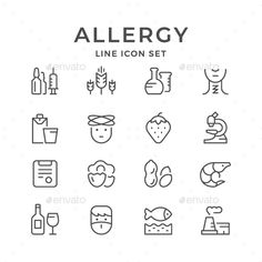 #Set Line Icons of #Allergy - Man-made objects #Objects