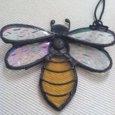 b59113577b9d15 Lot Of Bumble Bee Decorations Stained Glass Glitter Small Honey Comb Hive  Figure