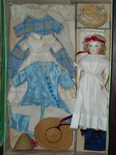Antique Tiny All Original French Fashion Doll in Box with Trousseau
