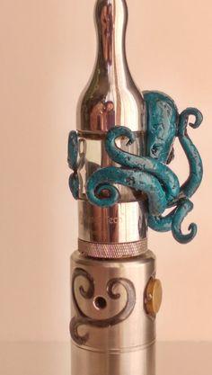 Handmade turquoise polymer clay Kraken vape charm by VapingArtist