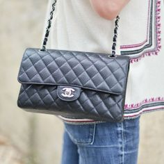 Timeless Chanel - my favorite (small classic flap, black caviar leather, silver hardware, CC lock)
