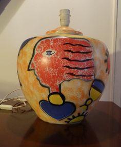 lampe céramique d artiste graffiti STREET ART années 80