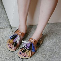Dress Up Confidence! 66girls.us Tassel Front Buckled Sandals (DHHD) #66girls #kstyle #kfashion #koreanfashion #girlsfashion #teenagegirls #younggirlsfashion #fashionablegirls #dailyoutfit #trendylook #globalshopping