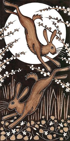 March Hares, 2013 Woodcut Art Print by Nat Morley. All prints are professionally printed, packaged, and shipped within 3 - 4 business days. Choose from multiple sizes and hundreds of frame and mat options. Art And Illustration, Illustrations, Watercolour Illustration, Fantasy Kunst, Fantasy Art, Woodcut Art, Year Of The Rabbit, March Hare, Rabbit Art