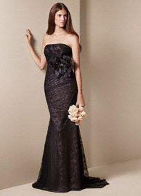 This elegant strapless draped lace column gown defines ethereal beauty. Style Natalie. #WhitebyVeraWang #DavidsBridal #EbonyCollection #WeddingDress