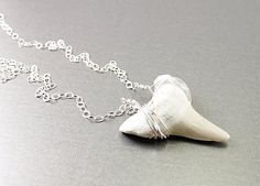 Shark tooth necklace: fossil jewelry silver wire wrapped jewelry real pendant gray sterling. $55.00, via Etsy.