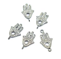 AAA 1 Pc 925 Sterling Silver Natural Pave Diamond Hamsa Hand