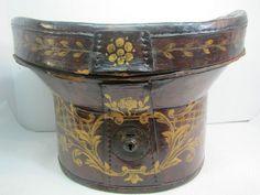 Antique 1800s Folk Art Hand Painted Leather Hat Box 19c Flowers Ornate Artwork   eBay