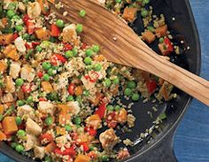 Quinoa, chicken, and sweet potato sauté - replace peas with very small broccoli florets and you have a nice clean meal!!