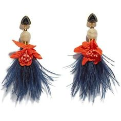 Lizzie Fortunato Blue Garden Party Earrings (905 BRL) ❤ liked on Polyvore featuring jewelry, earrings, multicolor, flower jewellery, earring jewelry, blue earrings, multi color earrings and feather earrings