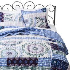 Xhilaration Blue Purple Patchwork Quilt Set Full / Queen Quilt Set 3 pc #Xhilaration