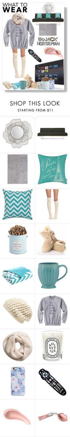 """""""What To Wear:Netflix Binge"""" by veronicawantscurves ❤ liked on Polyvore featuring Renwil, Joybird Furniture, Free People, The Hampton Popcorn Company, Intelligent Design, Lenox, Nirvanna Designs, H&M, Diptyque and Isaac Mizrahi"""