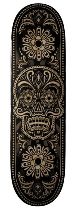 sugar skull design on skateboard Skateboard Deck Art, Skateboard Design, Surfboard Art, Longboard Deck, Sketch Manga, Posca Art, Geniale Tattoos, Skate Art, Skate Decks